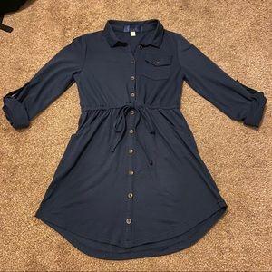 Blue Rain Button Down Dress from Francesca's